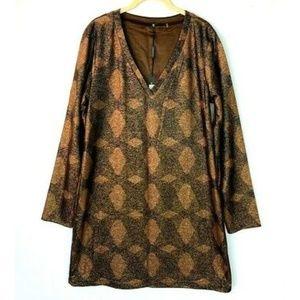 Elie Tahari Romni Metallic Shift Dress